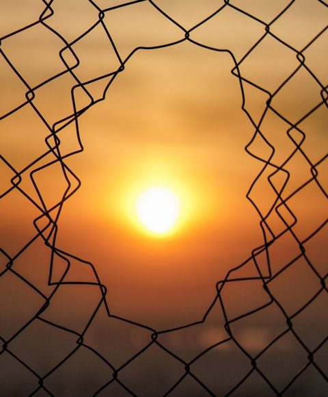 A golden orange sun in the distance is seen through a broken chain link fence